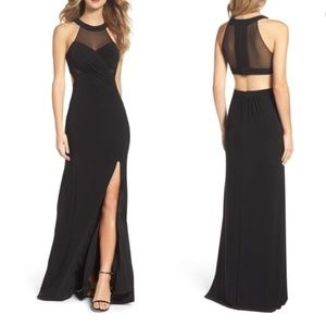 Nordstrom Black Mesh Gown Size 6P